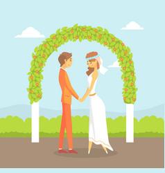 wedding ceremony happy couple newlyweds vector image
