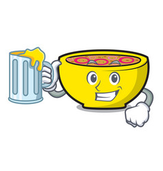 With juice soup union mascot cartoon vector