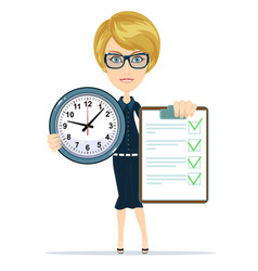 woman holding an agreement and clock vector image