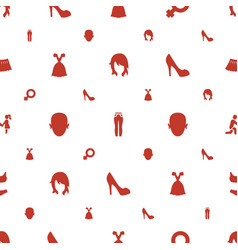 woman icons pattern seamless white background vector image