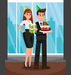 Workers at office party flat vector