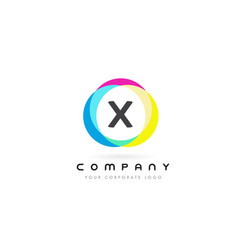 x letter logo design with rainbow rounded colors vector image