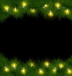 Yellow Christmas lights on pine isolated on black vector image
