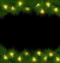 Yellow Christmas lights on pine isolated on black vector image