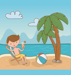 young boy on beach scene vector image