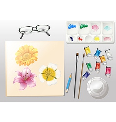 A topview of a painting vector image vector image