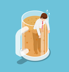 isometric drunk businessman in beer mug vector image