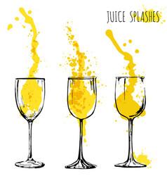Juice orange and apple splashes in wine glasses vector