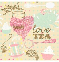 Love Tea Background vector image vector image