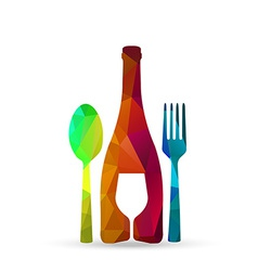 polygonal glass cup fork and spoon vector image vector image