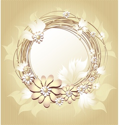 Scrapbooking floral frame in Gold colors vector image vector image