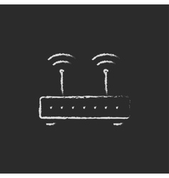 Wireless router drawn in chalk vector image