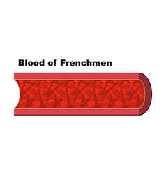 Blood of Frenchmen Blood cells in form of Eiffel vector image vector image