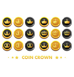 cartoon gold and black coins with the emblem crown vector image