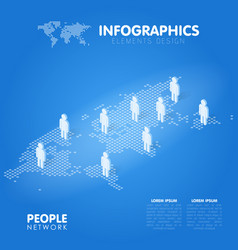 dotted world map with people symbol social vector image