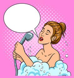 girl singing in the shower pop art vector image vector image
