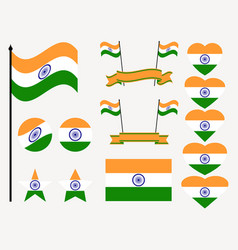 india flag set collection of symbols flag vector image