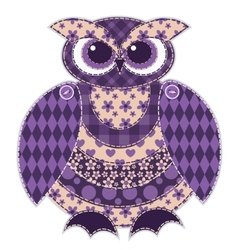 Isolated red patchwork owl vector