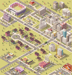 isometric low poly city vector image vector image