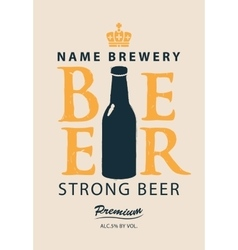 Label beer with a bottle vector