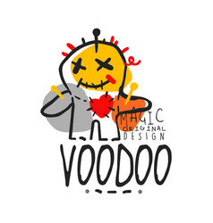 voodoo african and american magic logo doll with vector image