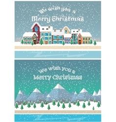Christmas holiday season Small town in snowfall vector image