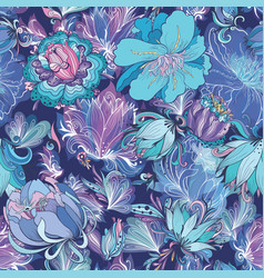 indigo flower pattern vector image vector image