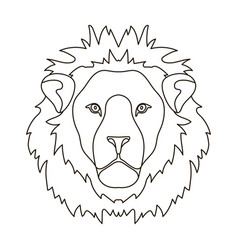 lion icon in outline style isolated on white vector image vector image