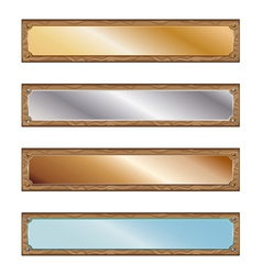 Metal plates with wood frames vector image