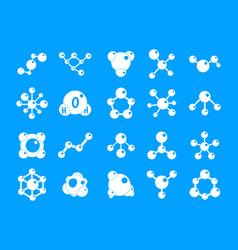 molecule icon blue set vector image