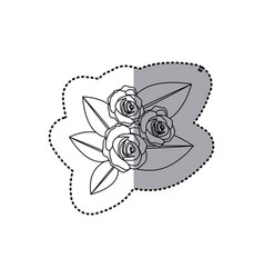 monochrome contour sticker of bouquet bud roses vector image vector image