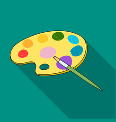 painting palette with paintbrush icon in flat vector image