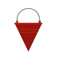 red fire bucket icon flat style vector image vector image