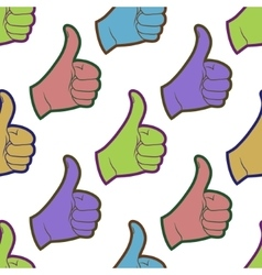 Seamless pattern with thumbs up sign vector image vector image