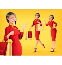 Smiling Chinese woman in different poses vector image vector image