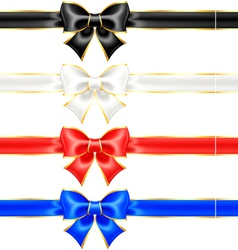 Black and white holiday bows with gold border and vector image vector image