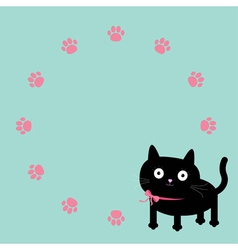 Cat and paw print round frame template Flat design vector image