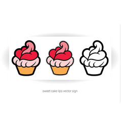 cupcake with cream in shape of lips and tongue vector image