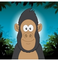 Cute cartoon gorilla in front of jungle background vector image vector image