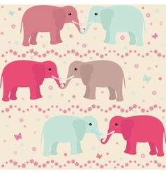 Romantic seamless pattern with elephants vector image