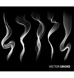 Set of realistic smoke on black background vector image