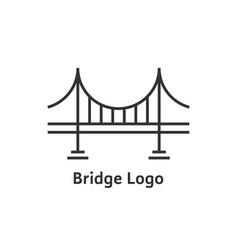 simple black thin line bridge logo vector image vector image