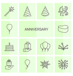 14 anniversary icons vector image