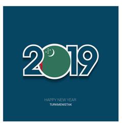2019 turkmenistan typography happy new year vector