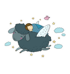 a sleeping girl and a sheep with wings good night vector image