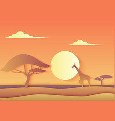 African trendy paper cuted landscape vector