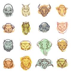 animal head in headphones animalistic vector image