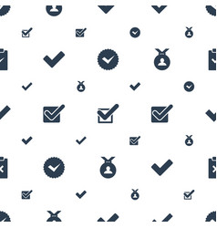 Approved icons pattern seamless white background vector
