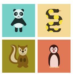 Assembly flat icons nature panda bear snake vector