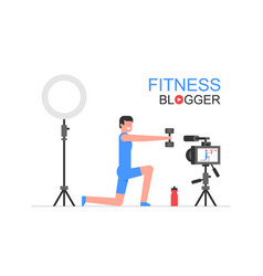 athletic man blogger vector image